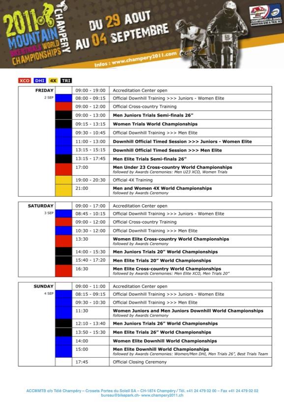 Weltmeisterschaft Champery 2011 Zeitplan Programm