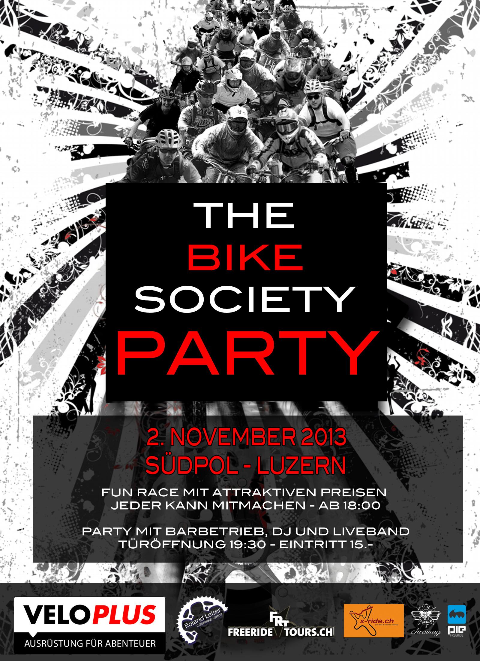 Bike society flyer party veloplus x-ride interbike freeridetours